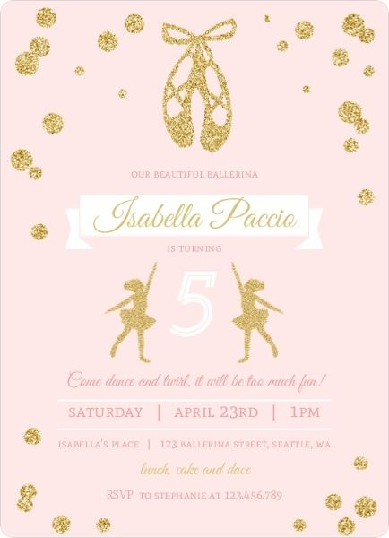 Convites bailarina rosa e dourado