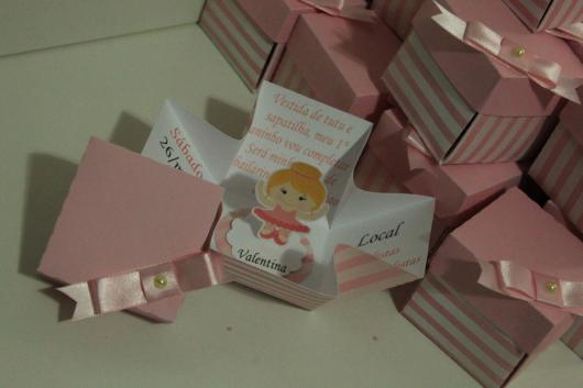 Convites bailarina caixinha rosa