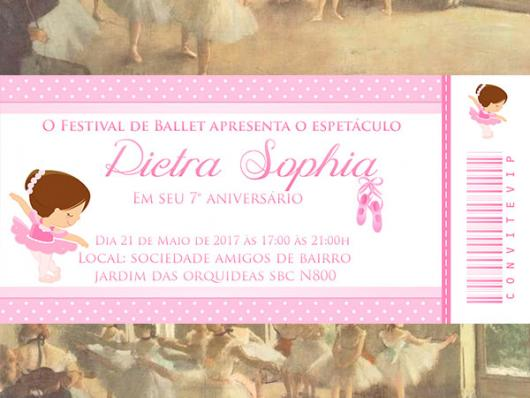 Convites bailarina ingresso rosa
