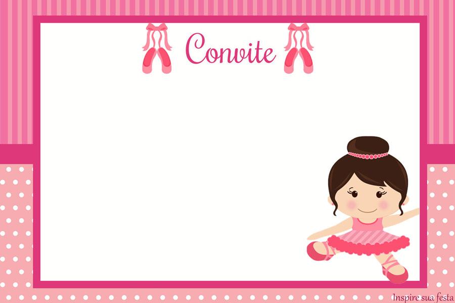 Convites bailarina rosa e branco para imprimir