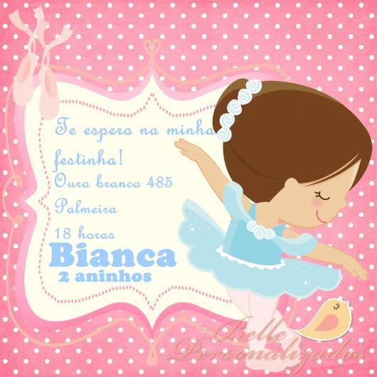 Convites bailarina cute rosa e azul