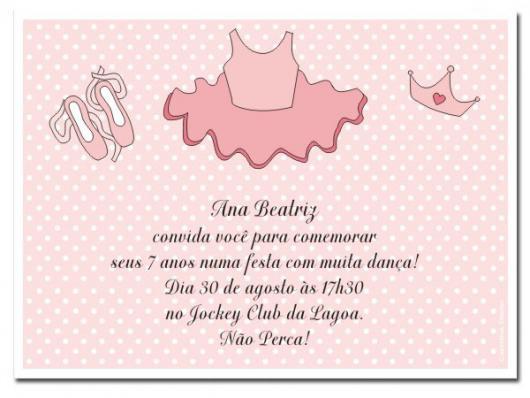 Convites bailarina cartão rosa