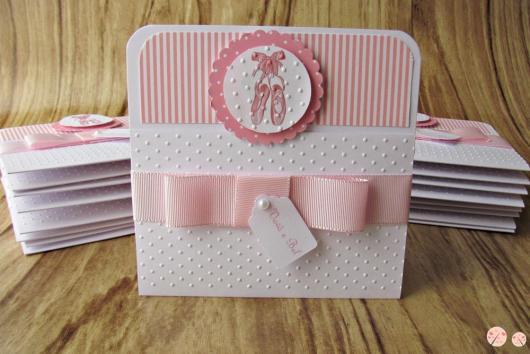 Convites bailarina scrapbook branco e rosa
