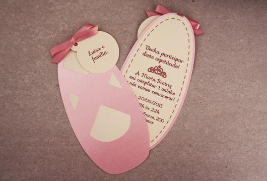 Convites bailarina sapatila rosa impressa