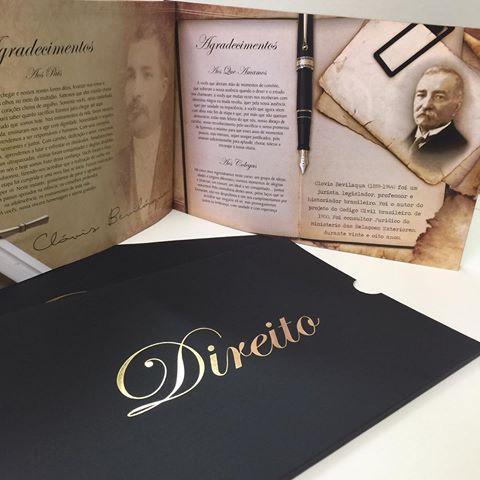 Convites de Formatura Direito preto e dourado