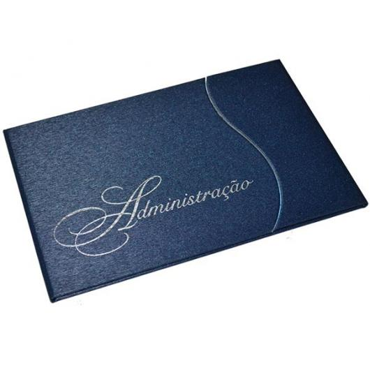 Convites de Formatura Administração no envelope com textura azul