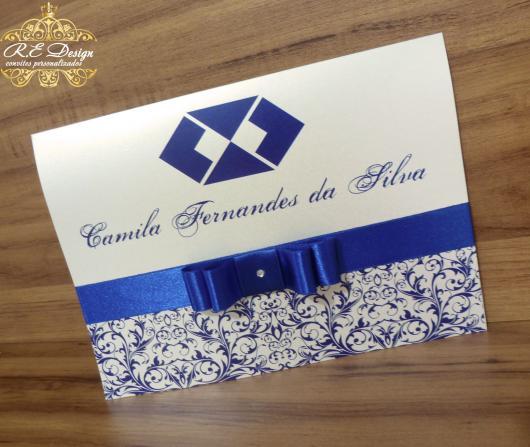 Convites de Formatura Administração azul e branco scrapbook