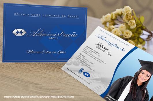 Convites de Formatura Administração Cartão azul e branco