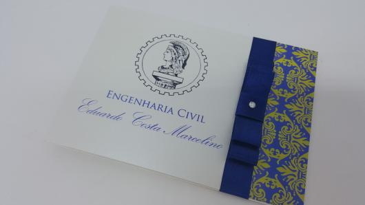 Convites de Formatura engenharia scrap branco e azul