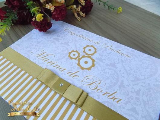 Convites de Formatura engenharia branco e dourado