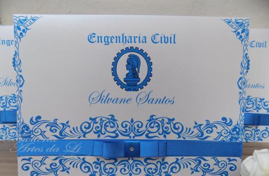 Convites de Formatura Engenharia scrap azul claro e branco