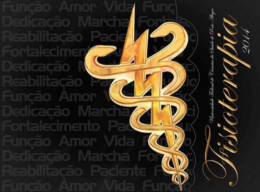 Convites de Formatura Fisioterapia cartão preto e dourado