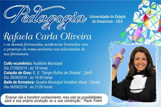 Convites de Formatura pedagogia cartão