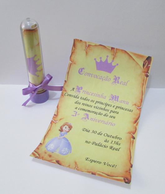 Convites Princesa Sofia pergaminho no tubete
