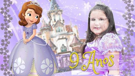 Convites Princesa Sofia com foto da aniversariante vestida com a fantasia da personagem