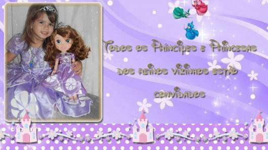Convites Princesa Sofia com foto da aniversariante caracterizada com o tema