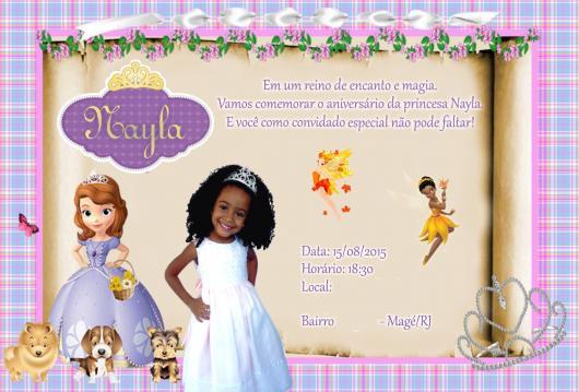 Convites Princesa Sofia com foto da aniversariante
