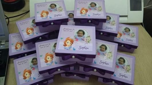 Convites Princesa Sofia caixa de MDF