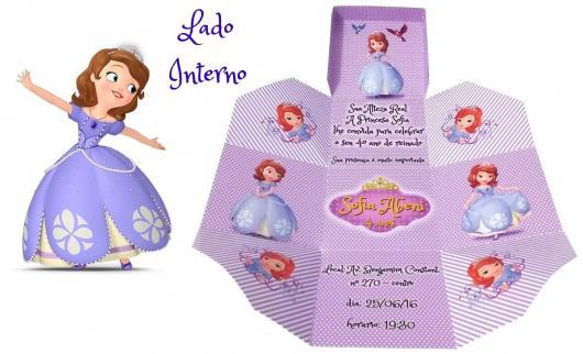 Convites Princesa Sofia caixinha de papel