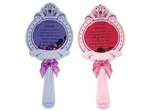 Convites Princesa Sofia no formato de espelho rosa e roxo