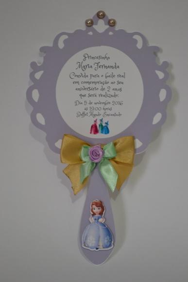 Convites Princesa Sofia roxo de EVA