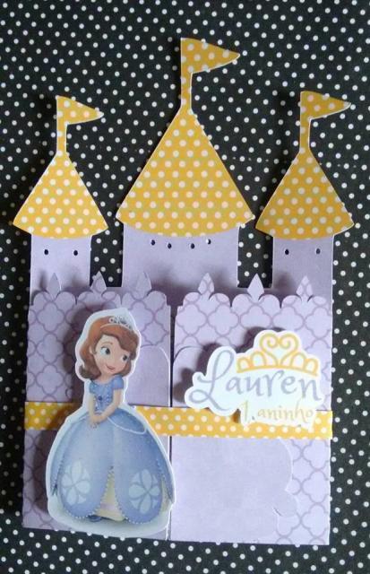 Convites Princesa Sofia modelo de castelo personalizado