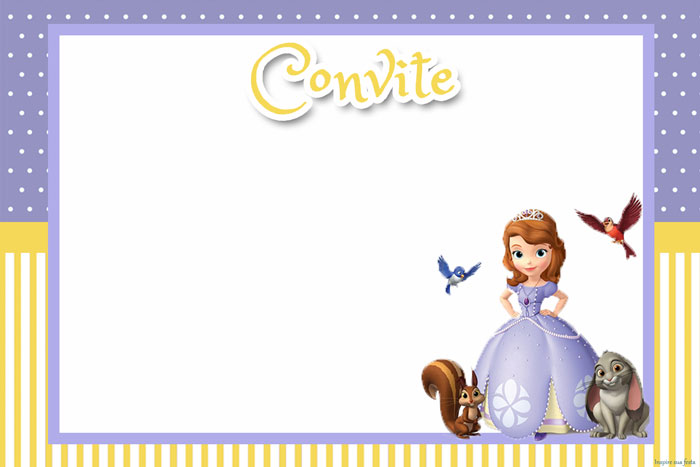 Convites Princesa Sofia para imprimir