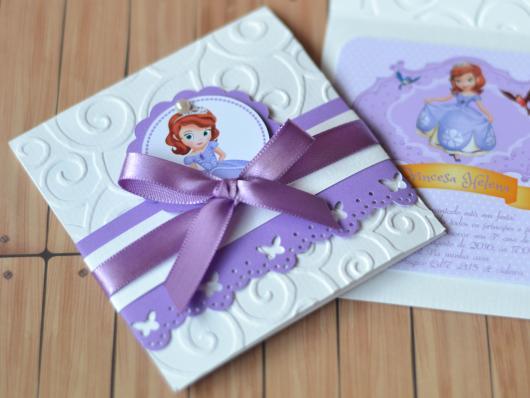 Convites Princesa Sofia modelo scrap com textura