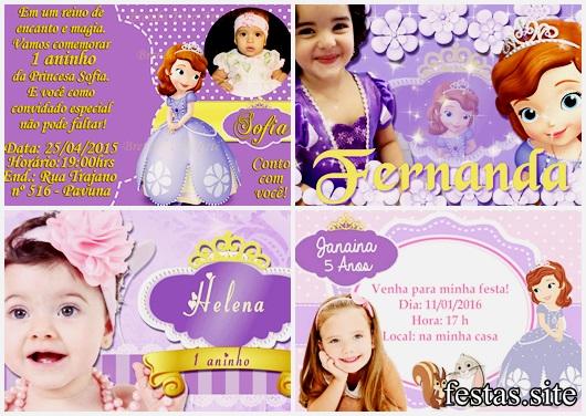 Convites Princesa Sofia com foto