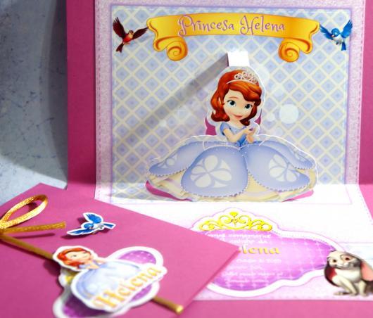 Convites Princesa Sofia 3D rosa