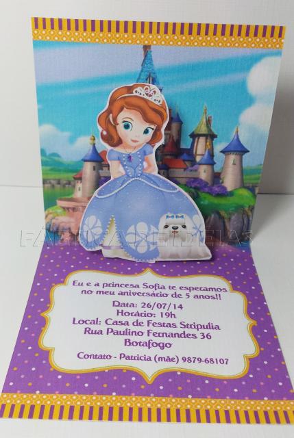 Convites Princesa Sofia 3D com fundo do castelo