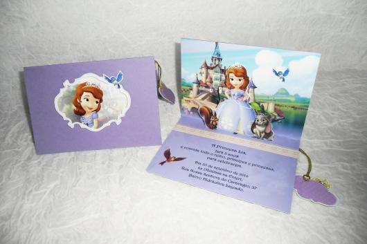 Convites Princesa Sofia 3D roxo com envelope