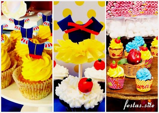 Cupcake Branca de Neve modelos decorados com chantilly