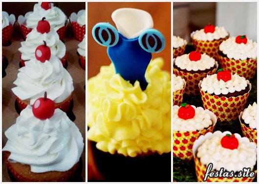 Cupcake Branca de Neve decorado com chantilly e apliques de pasta americana