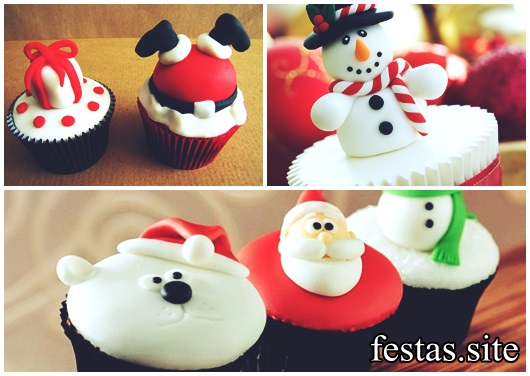 Cupcake de Natal decorado com pasta americana