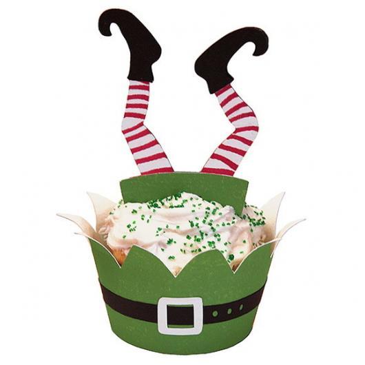 Cupcake de Natal wrapper verde com aplique de doende