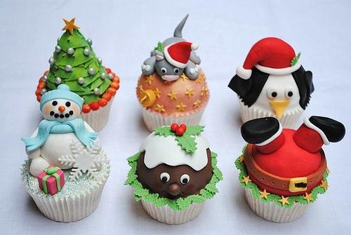 Cupcake de Natal aplique de pasta de leite em pó rena pinguim e boneco de neve