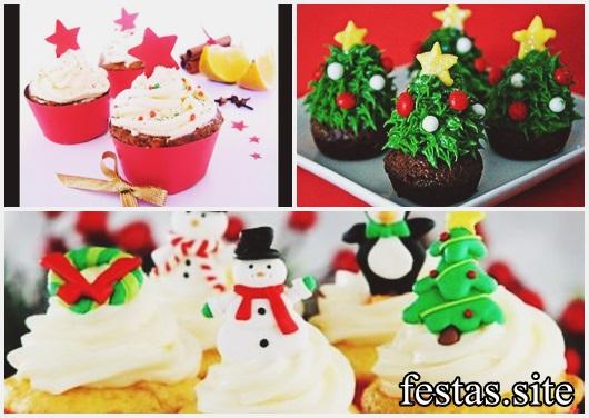 Cupcake de Natal decorado com chantilly