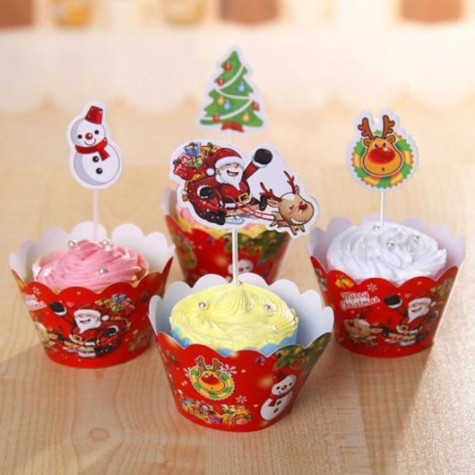 Cupcake de Natal wrapper vermelho