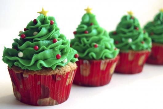 Cupcake de Natal com chantilly feito em casa