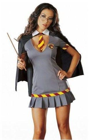 Fantasia Harry Potter vestido curto cinza com detalhe vermelho e amarelo