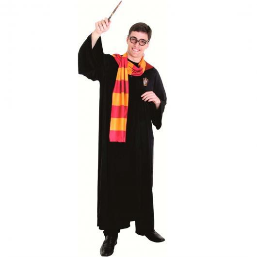 Fantasia Harry Potter beca preta com cachecol
