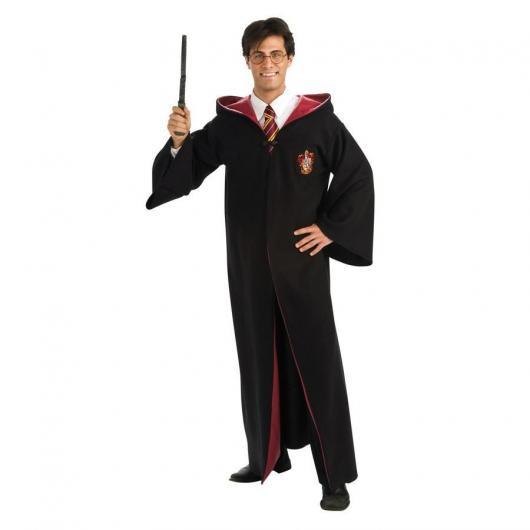 Fantasia Harry Potter capa preta com detalhes vermelho masculina