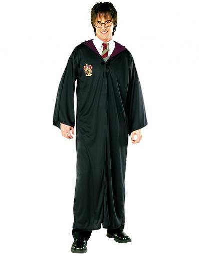 Fantasia Harry Potter capa ´preta com varinha e gravata vermelha e amarela