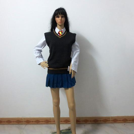 Fantasia Harry Potter feminina saia azul e colete preto com gravata vermelha