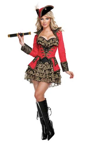Fantasias Femininas pirata preta vermelha e dourada