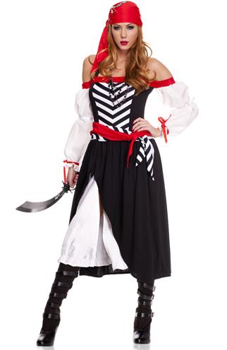 Fantasias Femininas pirata preta branca e vermelha