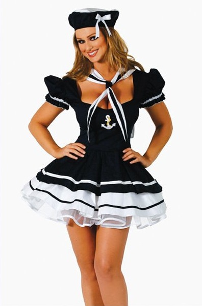 Fantasias Femininas marinheira preta e branca