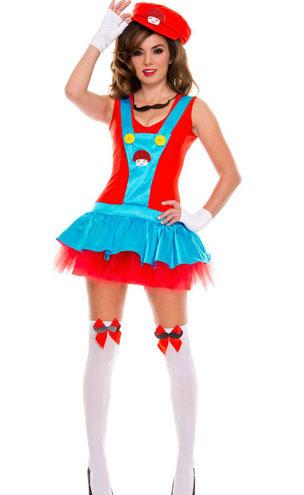 Fantasias Femininas Mario Bros vestido azul e vermelho babado