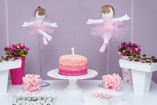 Festa Bailarina rosa e lilás com bailarinas de feltro